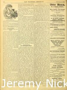 1884-02-08 Advertisement by H. W. Crabb for grape cuttings