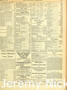 1884-03-14 Advertisement by H. W. Crabb for grape cuttings