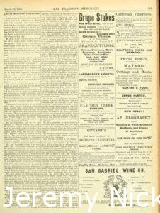 1884-03-28 Advertisement by H. W. Crabb for grape cuttings