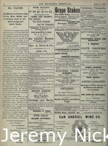 1884-04-11 Advertisement by H. W. Crabb for grape cuttings
