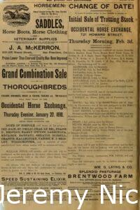 1898-01-15 Advertisement for sale of trotting stock at the Occidental Horse Exchange