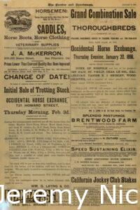 1898-01-08 Advertisement for sale of trotting stock at the Occidental Horse Exchange