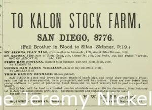 Advertisement for H.W. Crabb's To-Kalon Stock Farm, Breeder and Sportsman 18, no. 5, January 31, 1891.