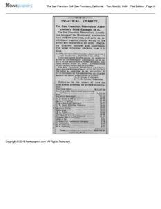 1894-11-20 Summary of private contributions to the San Francisco Merchant's Association fund