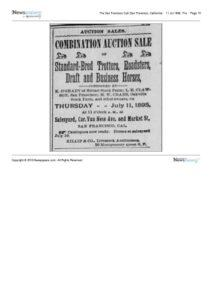 1895-07-11 Advertisement for a horse auction on July 11, 1895