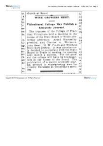 1896-04-14 Synopsis of meeting of the trustees of the College of Practical Viticulture