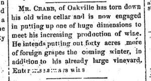 Newspaper article discussing how H.W. Crabb tore down his old wine cellar and is planning a large addition - 1