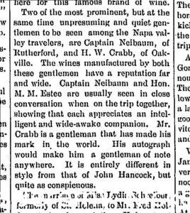 Newspaper article discussing H.W. Crabb and Captain Neibaum prominent men in Napa Valley