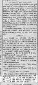 Newspaper article discussing the cellars, distillery, and agencies of H.W. Crabb