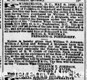 Newspaper article discussing agency of Pohndorff and Whitman sell and distribute To Kalon wines